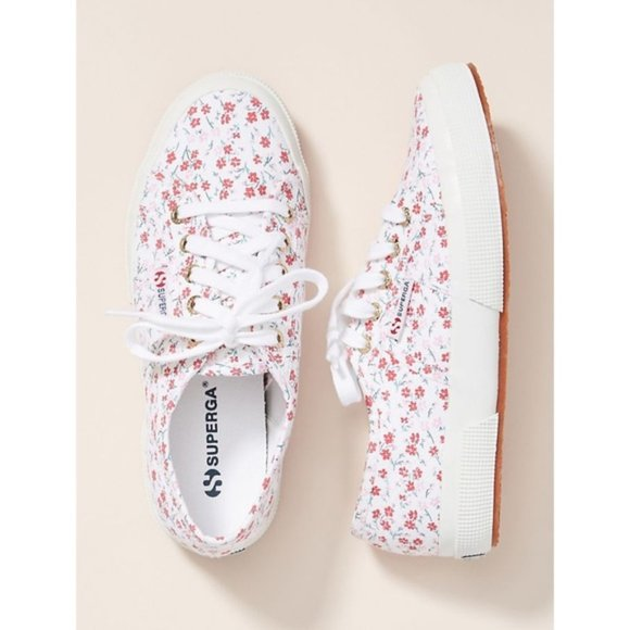 Superga Shoes | Pink Floral Sneakers